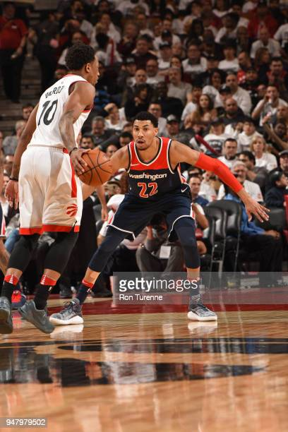 Otto Porter Jr #22 of the Washington Wizards plays defense against DeMar DeRozan of the Toronto Raptors in Game One of Round One of the 2018 NBA...