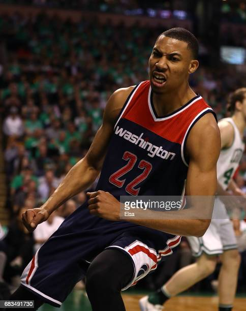 Otto Porter Jr #22 of the Washington Wizards reacts after a basket against the Boston Celtics during Game Seven of the NBA Eastern Conference...