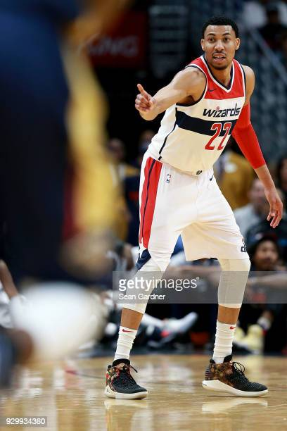 Otto Porter Jr #22 of the Washington Wizards reacts after a play of a NBA game against the New Orleans Pelicans during the first half at the Smoothie...