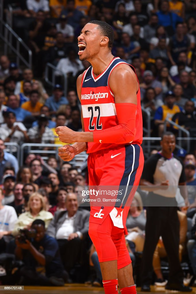 Otto Porter Jr. #22 of the Washington Wizards reacts during the game against the Los Angeles Lakers on October 25, 2017 at STAPLES Center in Los Angeles, California.