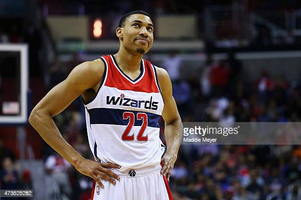 Otto Porter Jr #22 of the Washington Wizards reacts to a foul called against him during the second quarter against the Atlanta Hawks at Verizon...