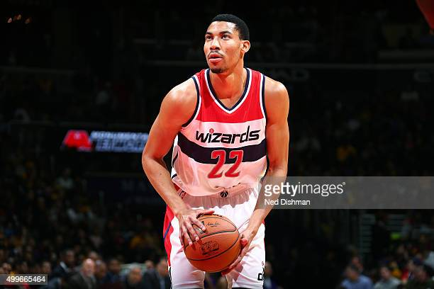 Otto Porter Jr #22 of the Washington Wizards shoots a free throw during the game against the Los Angeles Lakers on December 2 2015 at Verizon Center...