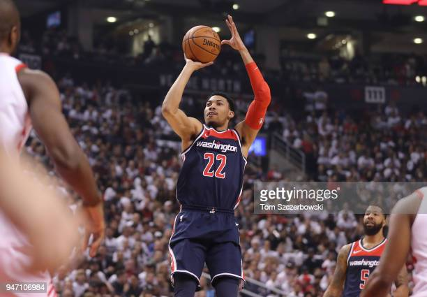 Otto Porter Jr #22 of the Washington Wizards shoots against the Toronto Raptors in the first quarter during Game One of the first round of the 2018...