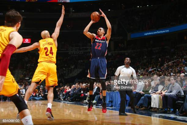 Otto Porter Jr #22 of the Washington Wizards shoots the ball against the Cleveland Cavaliers during the game on February 6 2017 at Verizon Center in...