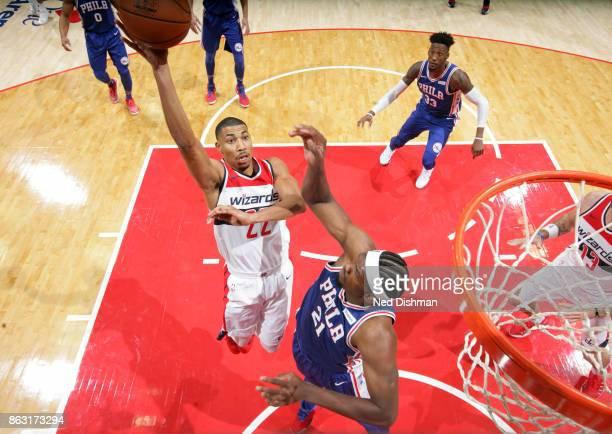 Otto Porter Jr #22 of the Washington Wizards shoots the ball against the Philadelphia 76ers on October 18 2017 at Capital One Arena in Washington DC...