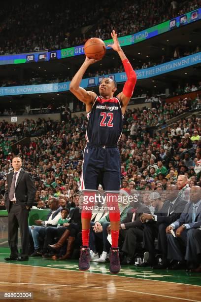 Otto Porter Jr #22 of the Washington Wizards shoots the ball against the Boston Celtics on December 25 2017 at the TD Garden in Boston Massachusetts...
