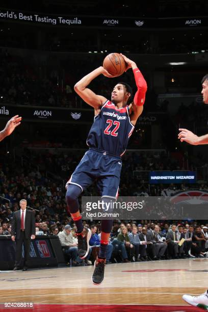 Otto Porter Jr #22 of the Washington Wizards shoots the ball against the Philadelphia 76ers on February 25 2018 at Capital One Arena in Washington DC...