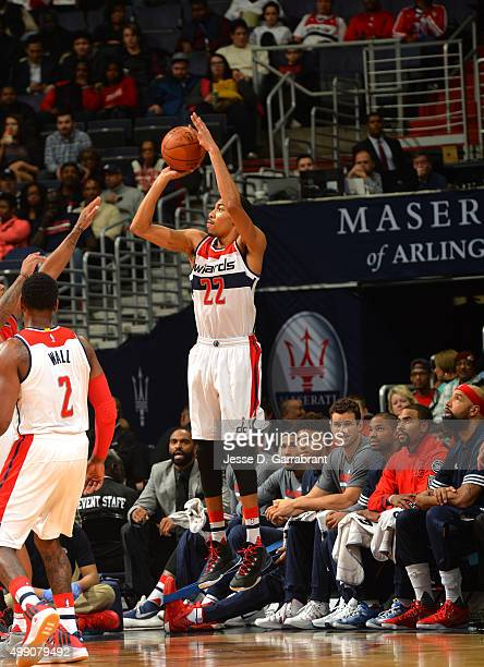 Otto Porter Jr #22 of the Washington Wizards shoots the ball during the game against the Toronto Raptors on November 28 2015 at Verizon Center in...