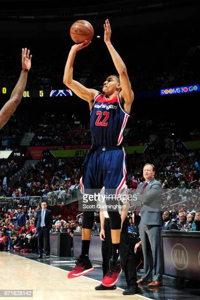 Otto Porter Jr #22 of the Washington Wizards shoots the ball during the game against the Atlanta Hawks in Game Three of the Eastern Conference...