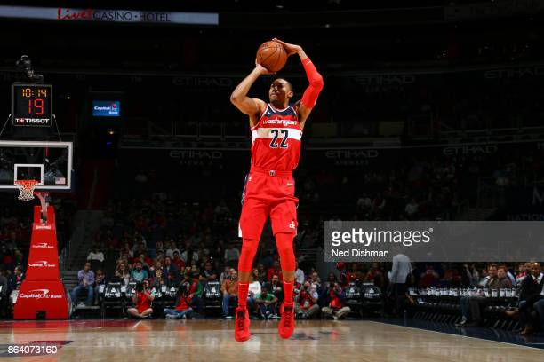 Otto Porter Jr #22 of the Washington Wizards shoots the ball during game against the Detroit Pistons on October 20 2017 at Capital One Arena in...