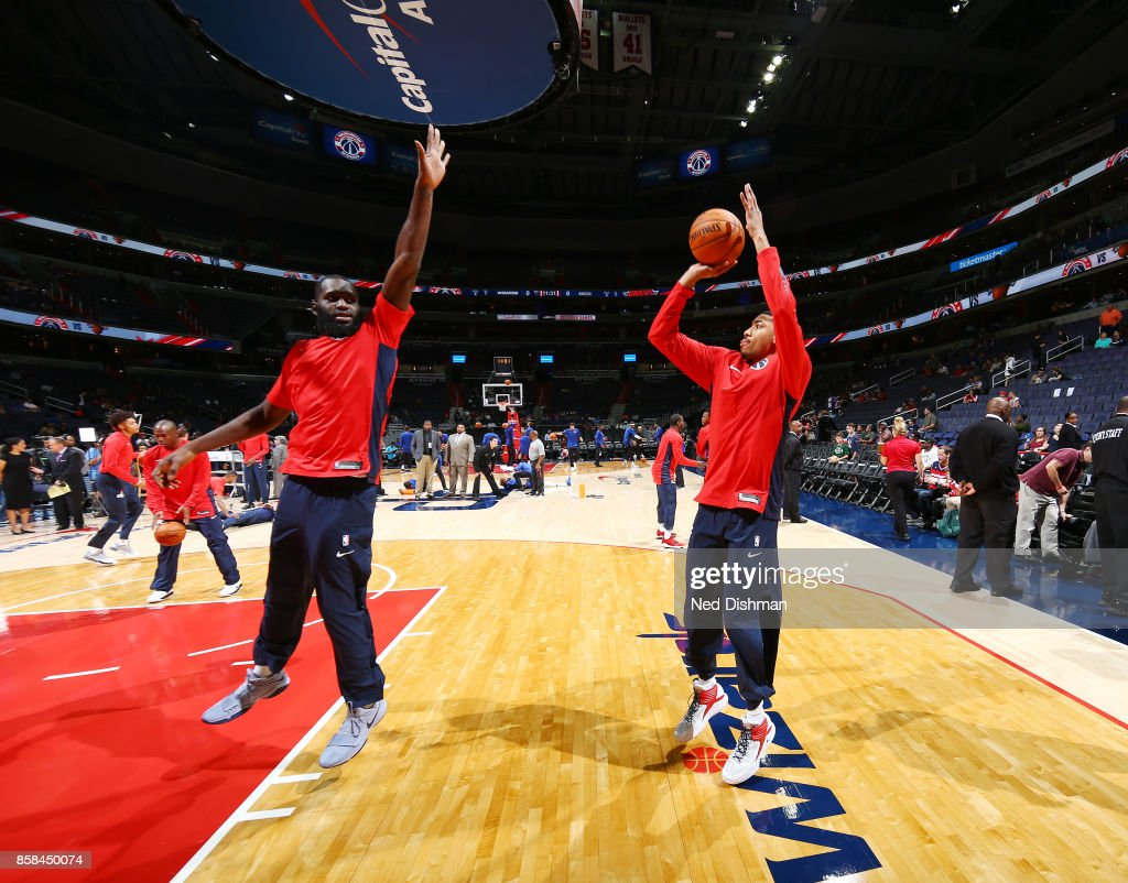 Otto Porter Jr. #22 of the Washington Wizards warms up before the preseason game against the New York Knicks on October 6, 2017 at Capital One Arena in Washington, DC.