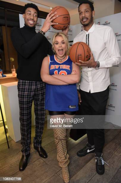 Otto Porter JrTallia StormTrevor Ariza attend the Tissot party celebrating their partnership with the NBA as the official timekeeper of the games on...