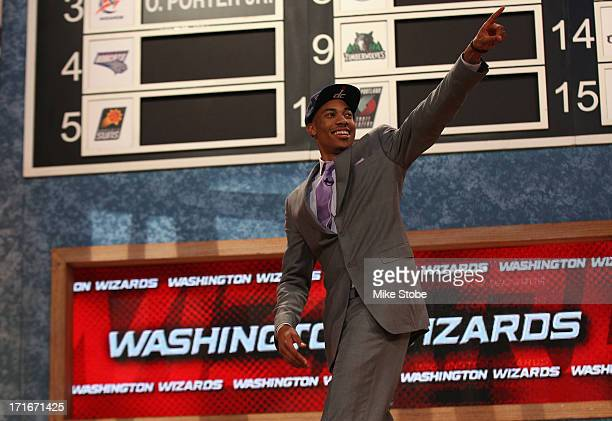Otto Porter of Georgetown reacts after he was drafted overall in the first round by the Washington Wizards during the 2013 NBA Draft at Barclays...