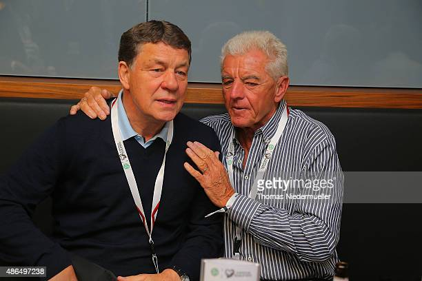 Otto Rehagel and Erich Ribbeck members of the Club of Former National Players are seen prior to the EURO 2016 Qualifier match between Germany and...