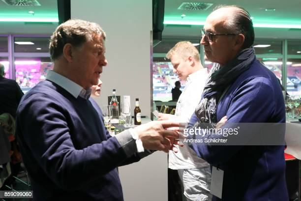 Otto Rehagel and Juergen Kohler at the club of former national players meeting during the FIFA 2018 World Cup Qualifier between Germany and...