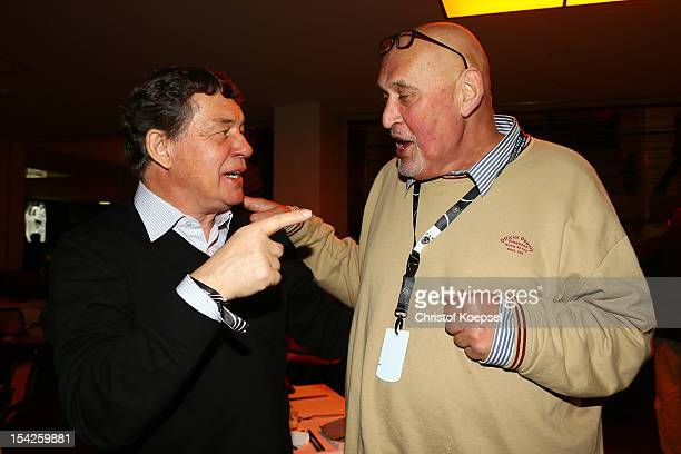 Otto Rehagel and Volkmar Gross talk during the Club of former national players meeting at Olympiastadion on October 16 2012 in Berlin Germany