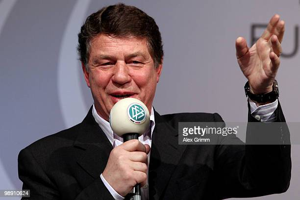 Otto Rehhagel, head coach of the Greece national football team, gestures during the DFB Live at the Steigenberger Airport hotel on May 7, 2010 in...