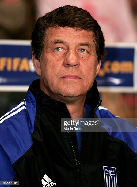Otto Rehhagel headcoach of Greece seen during the FIFA World Cup 2006 Group 2 Qualifier match between Denmark and Greece at the Parken Stadium on...