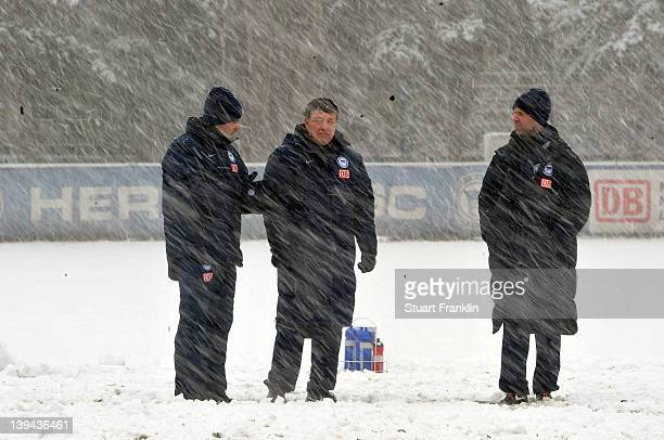 Otto Rehhagel, new head coach of Hertha BSC Berlin talks with Rene Tretschok as he takes charge of his first training session with his new team on...
