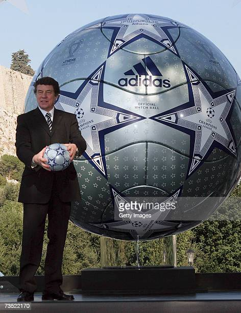 Otto Rehhagel the Greek national coach unveils a huge replica of the Adidas match ball for the UEFA Champions league final 2007 in Athens in front...