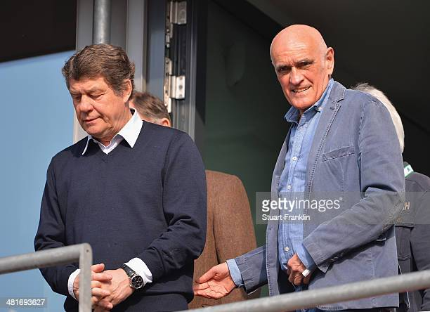 Otto Rehhagel with Martin Kind president of Hannover during the Bundesliga match between Hannover 96 and Werder Bremen at HDIArena on March 23 2014...