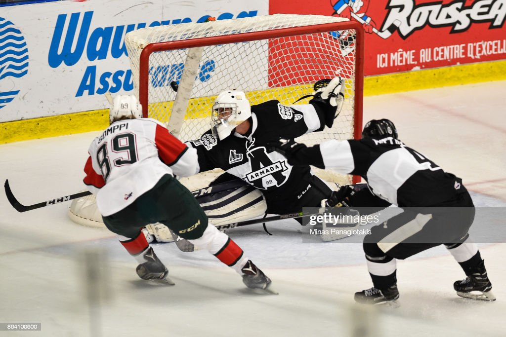 Otto Somppi #89 of the Halifax Mooseheads scores a third period goal on goaltender Emile Samson #37 of the Blainville-Boisbriand Armada during the QMJHL game at Centre d'Excellence Sports Rousseau on October 20, 2017 in Boisbriand, Quebec, Canada. The Halifax Mooseheads defeated the Blainville-Boisbriand Armada 4-2.