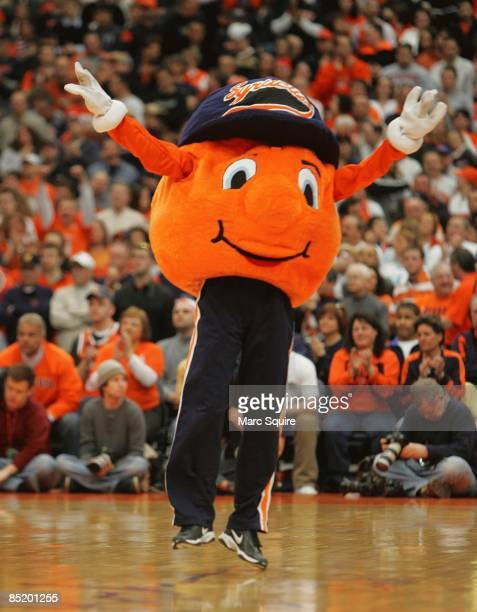 Otto the Orange pumps up the crowd during the game between the Syracuse Orange and the Cincinnati Bearcats on March 1 2009 at the Carrier Dome in...
