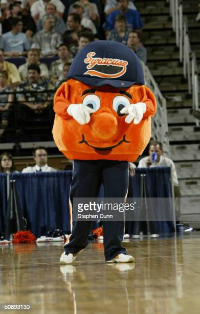 Otto the Orangemen mascot of the Syracuse University Orangemen entertains the fans in the third round game of the NCAA Division I Men's Basketball...