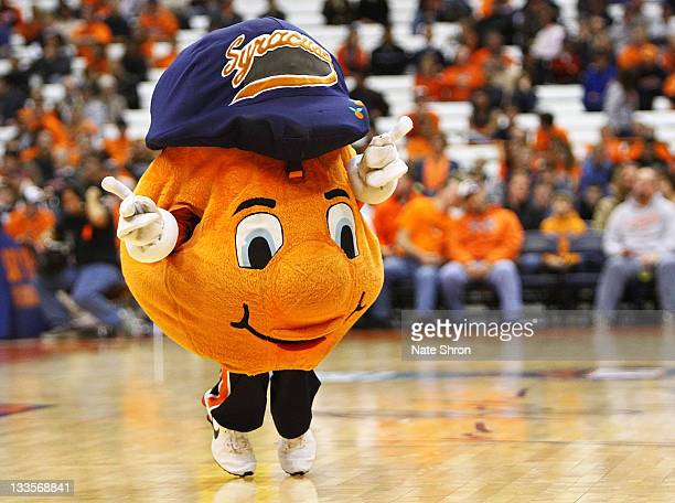 Otto the Syracuse Orange mascott dances on the court in between play during the NIT Season Tipoff game against the Albany Great Danes at the Carrier...