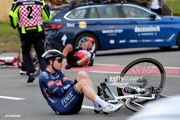 Otto Vergaerde of Belgium and Team Alpecin-Fenix during the 76th Omloop Het Nieuwsblad 2021, Men's Race a 200,5km race from Ghent to Ninove / Crash /...