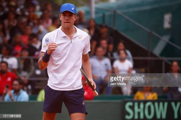 Otto Virtanen of Finland celebrates as part of day 2 of Davis Cup World Group I Play-offs at Club Deportivo La Asuncion on March 7, 2020 in Mexico...