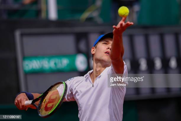 Otto Virtanen of Finland serves as part of day 2 of Davis Cup World Group I Play-offs at Club Deportivo La Asuncion on March 7, 2020 in Mexico City,...