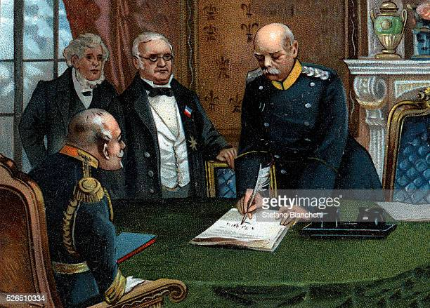 Otto Von Bismarck meeting French delegates Adolphe Thiers and Jules Favre at Versailles Palace February 26 1871