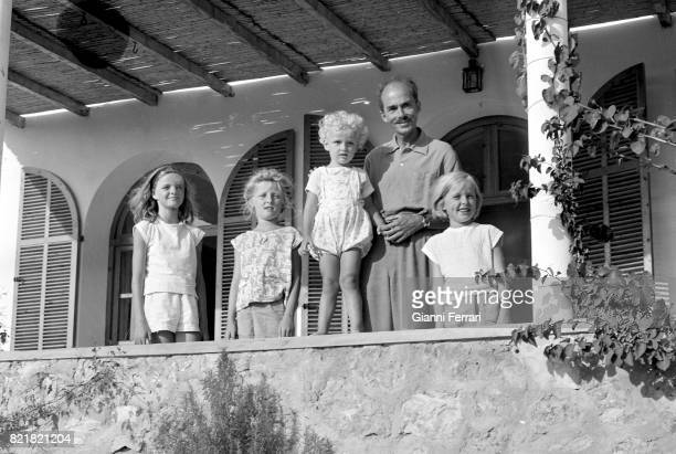 Otto von Habsburg with children Benidorm, Valencian Community, Spain.