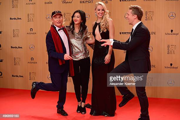 Otto Waalkes guest Sabine Lisicki and Oliver Pocher attend the Bambi Awards 2015 at Stage Theater on November 12 2015 in Berlin Germany