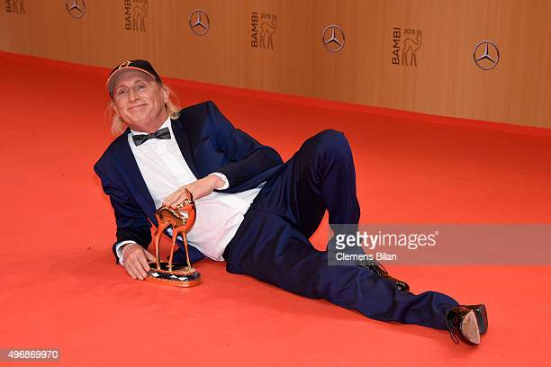 Otto Waalkes is seen with his award at the Bambi Awards 2015 winners board at Stage Theater on November 12 2015 in Berlin Germany