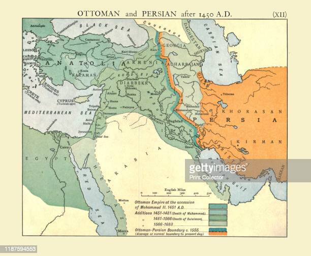 Ottoman and Persian after 1450 AD' circa 1915 Map of empires in the Middle East during the 15th17th centuries Ottoman Empire at the accession of...