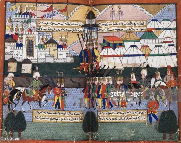 Ottoman army of Lala Mustafa Pasha parading before the walls of Tiflis, 1578. From the Nusretname by Mustafa Ali. Found in the Collection of British...