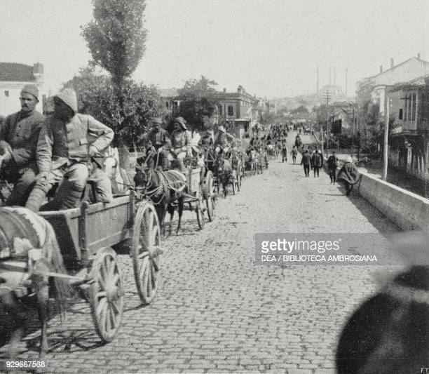 Ottoman army wagons entering Adrianopole after being recaptured by Turkish troops Turkey Second Balkan War photograph by Maurizio Galli from...