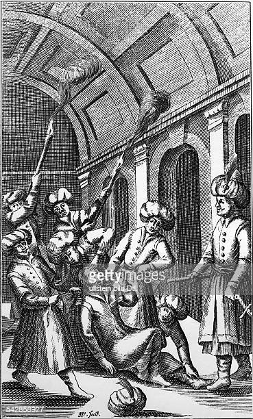 Ottoman Empire Copper engravings Osman II 0311160420051622 Sultan / Calif 16181622 Osman being murdered in the Prison of the Seven Towers on 20051622...