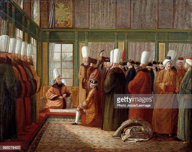 Reception of a French ambassador by the Great Vizir in Constantinople Painting by Antoine de Favray 18th century Museum of the Marine Marseille France