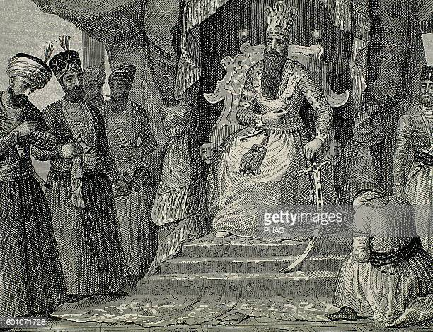 Ottoman Empire, Turkey. Sultan received in the courtroom of the Topkapi Palace counselors. Istanbul. Recorded. Engraving 19th century.