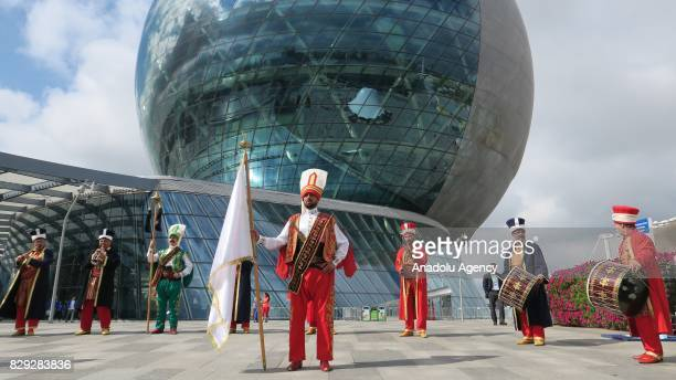 Ottoman Military Band or Janissary Band also known as Mehter Platoon perform during the EXPO 2017 Astana's Turkish National Day event in Astana...