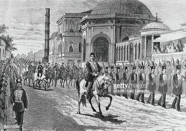 Ottoman Sultan Abdul Hamid II in Constantinople during the celebrations for his accession to the throne in September 1876 Engraving by Antonio...