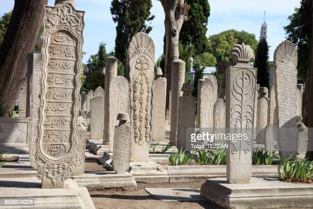 ottoman tombs at süleymaniye mosque - cemetery stock pictures, royalty-free photos & images