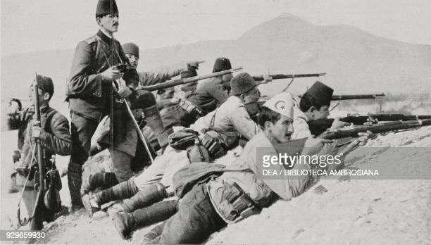 Ottoman troops defending themselves from a Montenegrin attack on Bardanjoli Shkoder Albania First Balkan War photograph by Gino Berri from...