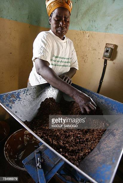 A woman from a cooperative crushes shea nuts to prepare shea butter 02 March 2007 in a neighborhood of Ouagadougou As cosmetics containing shea...