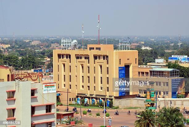ouagadougou, burkina faso: rond point des cinéastes and ecobank - ouagadougou stock pictures, royalty-free photos & images