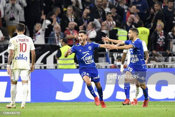 Oualid EL HAJJAM - 24 Xavier CHAVALERIN during the Ligue 1 Uber Eats match between Lyon and Troyes at Groupama Stadium on September 22, 2021 in Lyon,...