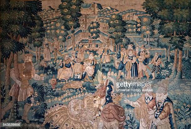 Oudenaarde tapestry depicting Hercules with courtiers in a landscape Dated 17th Century